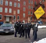 """Chicago police stand outside their Homan Square """"black site"""" (Brian Greene)"""