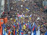 Some 50,000 people marched in Moscow against military intervention in Ukraine