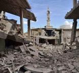 Wreckage from air strikes believed to be carried out by Russian forces