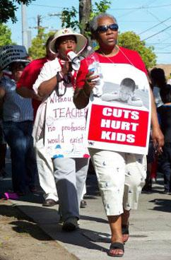 UTLA members rally against budget cuts in April (David Rapkin | SW)