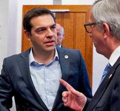 Greek Prime Minister Alexis Tsipras listens to European Commission President Jean-Claude Juncker (European Council)