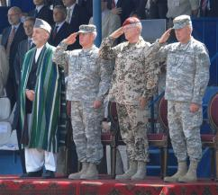 From left: Afghan President Hamid Karzai, U.S. Army Gen. Dan K. McNeill, German Gen. Egon Ramms, and U.S. Army Gen. David D. McKiernan (Sgt. Andrew E. Lynch)