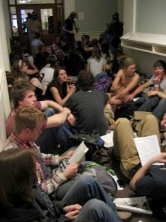 UVM students sit in to protest the administration's layoffs and budget cuts (Joanna Grossman)