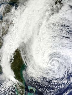 A satellite image of Hurricane Sandy (NASA)