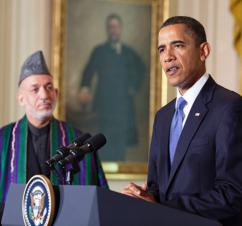 President Obama speaks to press alongside Afghan President Hamid Karzai (White House)