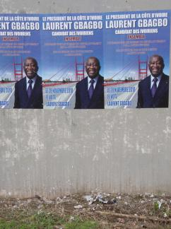 Election posters advertise the campaign of Laurent Gbagbo