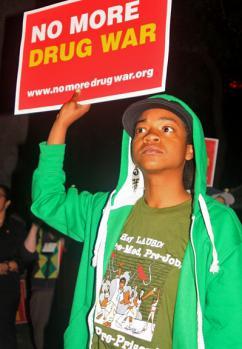 Protesters gathered in Los Angeles to demand decriminalization