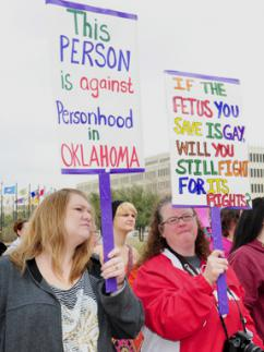 "Oklahomans protest the ""personhood"" attack on abortion rights outside the state Capitol building"