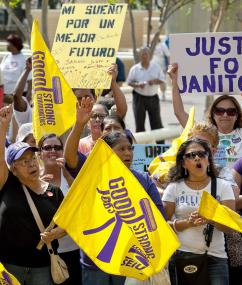 Members of Houston's Justice for Janitors campaign show their determination