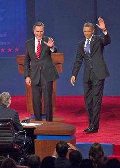 Mitt Romney and Barack Obama at their first presidential debate (University of Denver)