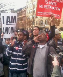 Fast food workers in New York City join in a one-day coordinated strike