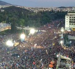 """Huge numbers of people jammed Syntagma Square to celebrate the """"no"""" vote"""