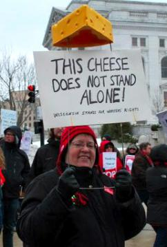 Protesters at the demonstrations against Walker's union-busting bill (Carole Ramsden | SW)