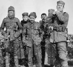 German soldiers stand in No Man's Land during the Christmas Truce in the First World War (CAF Drummond, Royal Field Artillery)