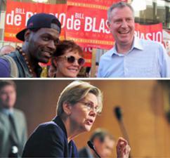 New York City Mayor Bill DeBlasio (above right) and Massachusetts Sen. Elizabeth Warren (below)