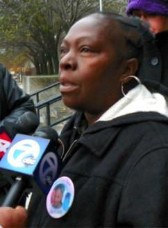 Mertilla Jones speaking to reporters following a pre-trial hearing in October