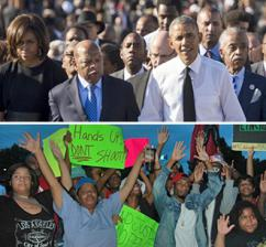 Above: Barack Obama and other Black leaders march in Selma; below: Protesting police murder in Ferguson