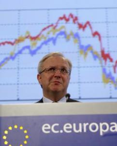European Commissioner for Economic and Monetary Affairs Olli Rehn speaks to press about the Greek debt crisis