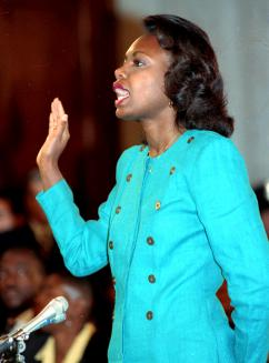 Anita Hill is sworn in before her testimony to the Senate Judiciary Committee in 1991