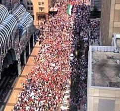 As many as 10,000 people took to the Chicago streets to show solidarity with Palestine