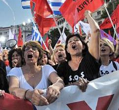 SYRIZA supporters demonstrating in Athens