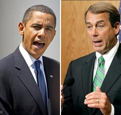 President Obama and Republican House Majority Leader John Boehner