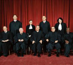 U.S. Supreme Court justices (clockwise from top left): Samuel Alito, Ruth Bader Ginsberg, Stephen Breyer, Sonia Sotomayor, Clarence Thomas, Antonin Scalia, John Roberts, John Paul Stevens and Anthony Kennedy