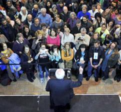 Bernie Sanders speaks to a big crowd in Iowa