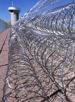 A fortified fence outside a supermax prison in Colorado
