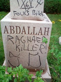 Islamophobic vandalism found last week covering a grave in Evergreen Park, Illinois
