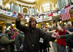 The protests in Wisconsin&#039;s capital building have galvanized the labor movement (Brian Kersey | UPI)