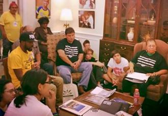 "Dream Defenders speak with farmworkers and other activists during a ""people's session"" in the Capitol (Dream Defenders)"
