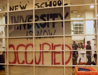 Students occupied a building at the New School to demand greater democracy (Indymedia)
