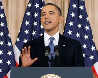 President Obama delivering his Middle East policy speech in May