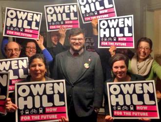 Owen Hill with campaign supporters in Maine