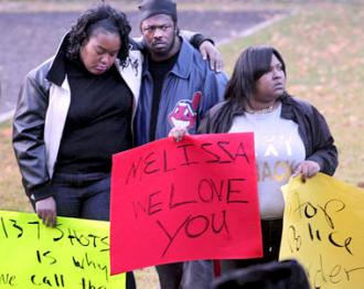 Family members of Malissa Williams protest her murder by Cleveland police
