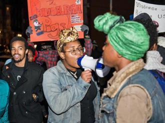 Temple University students rally in Philadelphia against police brutality (Bernard Jones)