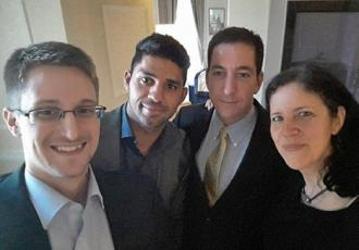 From left to right: Edward Snowden, David Miranda, Glenn Greenwald and Laura Poitras