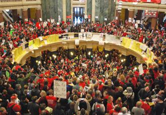 The occupied Wisconsin Capitol building in Madison (Carole Ramsden | SW)
