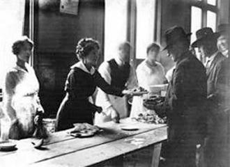 A communal kitchen serves striking workers during the Seattle General Strike of 1919