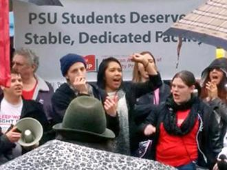 Faculty and student supporters rally for a fair contract at Portland State University (PSU-AAUP)