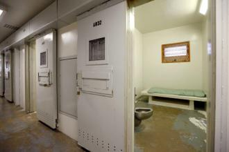 A block of solitary confinement cells in a Mississippi state prison