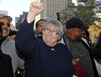 Lynne Stewart arrives for a court hearing in her case in New York City