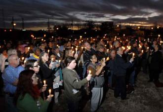 A candlelight vigil in Houston memorializes a transgender murder victim (Ben Tecumseh DeSoto)