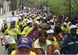 Supporters of striking Kingsbridge Heights Nursing Home workers on the march (Yusef Khalil | SW)
