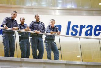 Israeli security forces inside Ben Gurion Airport