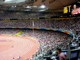 Crowds pack the stadium for track-and-field events at the 2008 Olympics in Beijing (Remko Tanis)