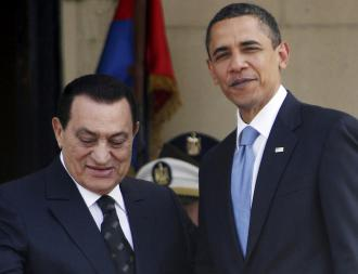 Barack Obama meets with Egypt&#039;s Hosni Mubarak in Cairo