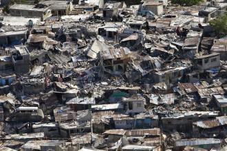 Homes destroyed in a poor neighborhood of Port-au-Prince