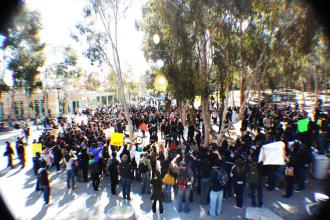 Students marched and rallied on the UC San Diego campus after walking out of an administration-sponsored teach-in (Thieny Nguyen)